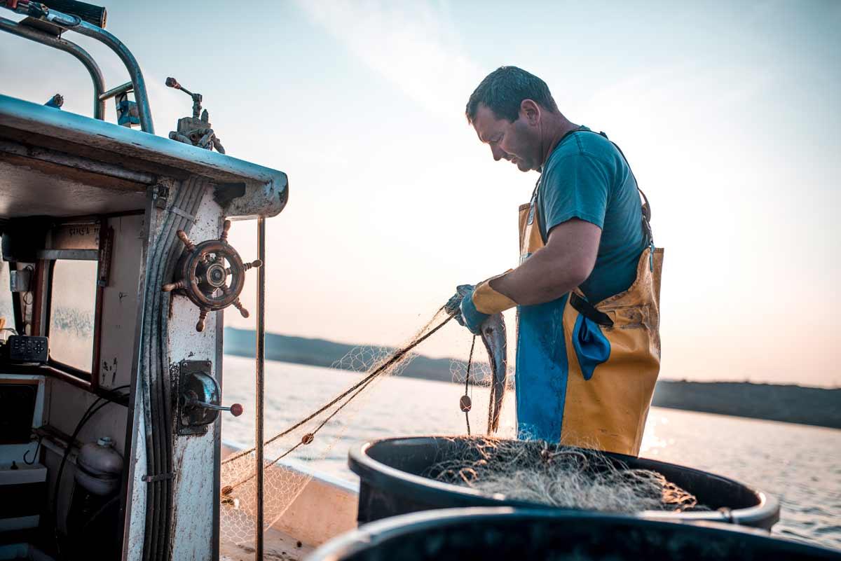 sustainable fisherman on boat
